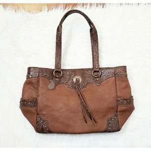 NWT American West Tooled Leather Brown Western Bag